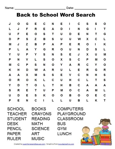 Sch Search Back To School Word Search Khafre