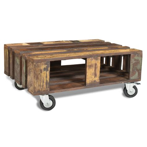 Antique Coffee Table With Wheels Vidaxl Co Uk Antique Style Reclaimed Wood Coffee Table With 4 Wheels