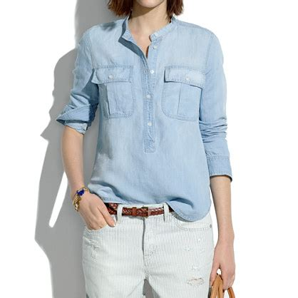 Slc Import Blouse 8321 chambray popover in salt lake chambray denim shirts madewell