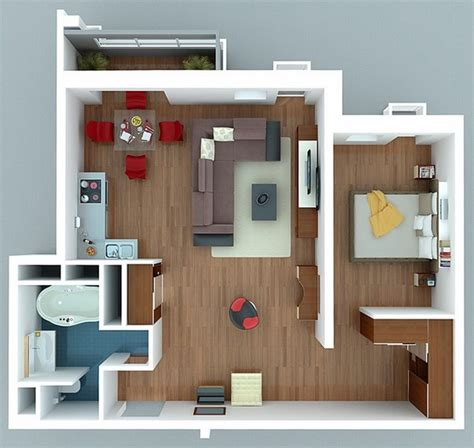 One Room Appartment by 1 Bedroom Apartment House Plans