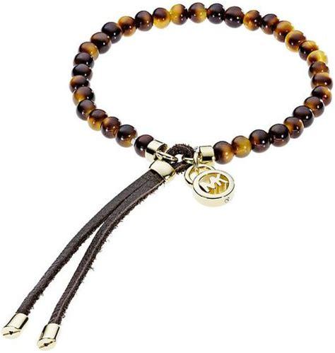 michael kors beaded bracelet michael kors beaded tortoise shell bracelet in gold lyst