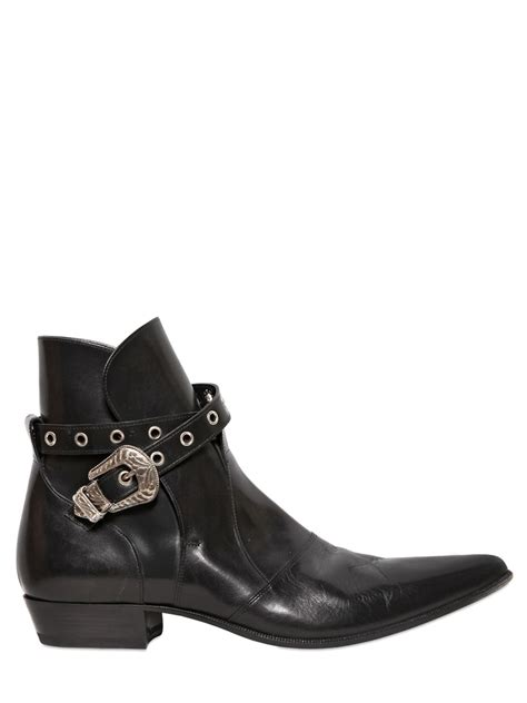 laurent boots mens laurent western buckle leather boots in black for