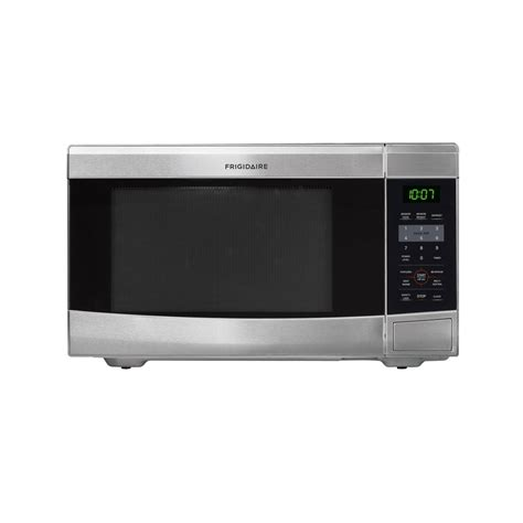 microwave store shop frigidaire 1 1 cu ft 1 100 watt countertop microwave stainless steel at lowes com
