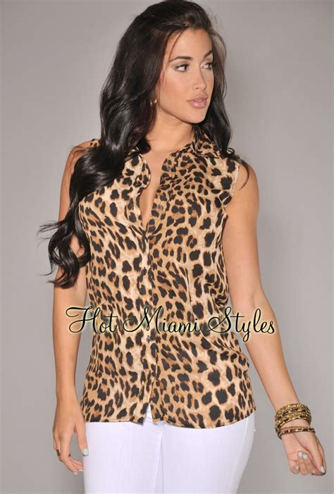 41hawthorn Animal Print Blouse by Leopard Print Button Sleeveless Top