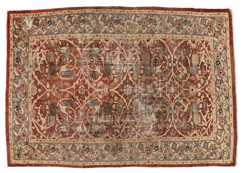 hunt rugs distressed antique sultanabad rug with for sale at 1stdibs