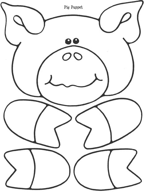 pig puppet template early literacy fitch and chip wolf and pig paper