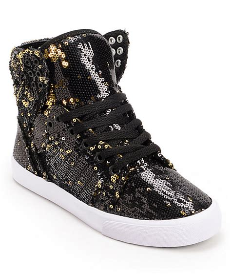 sequin shoes supra x a morir womens skytop black gold sequin shoes