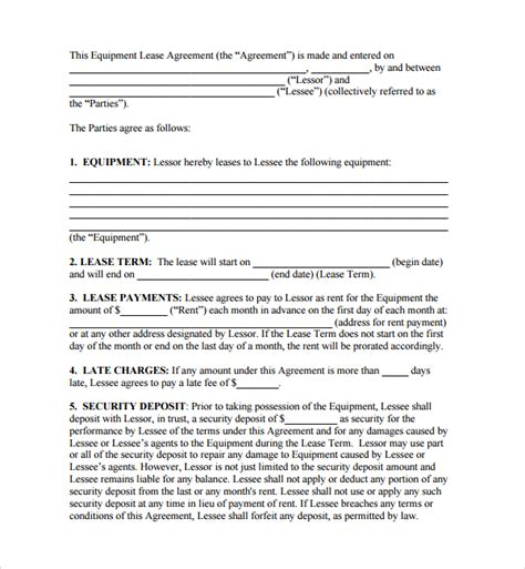 sle equipment lease form 10 download free documents