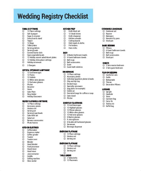 printable checklist for wedding registry 9 printable wedding checklist sles sle templates