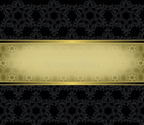 gold rectangular frame   black background stock vector