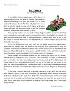 reading comprehension worksheet yard work