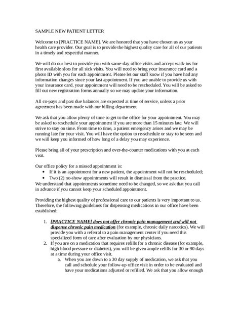 New Patient Letter Template sle new patient letter edit fill sign handypdf