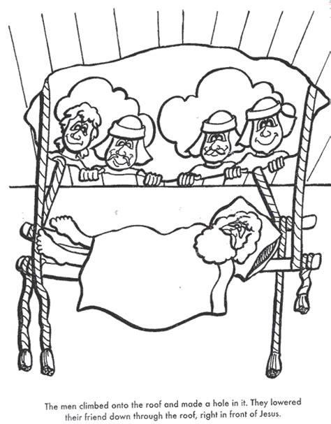 the paralyzed man bible coloring page for kids to learn