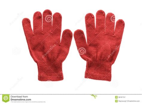 white glove pattern red knitted cloth kid gloves with pattern isolated on