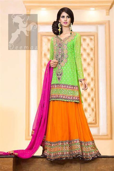 Bright Green Shirt Orange Lehenga & Pink Dupatta for Mehndi
