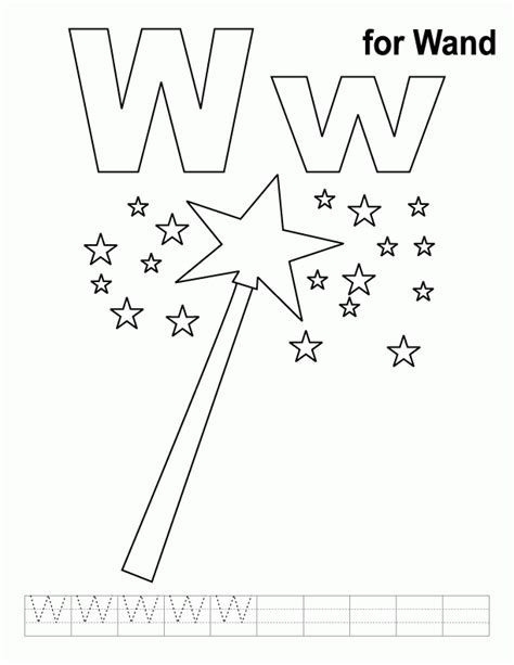 princess wand coloring pages w for wand coloring page with handwriting practice