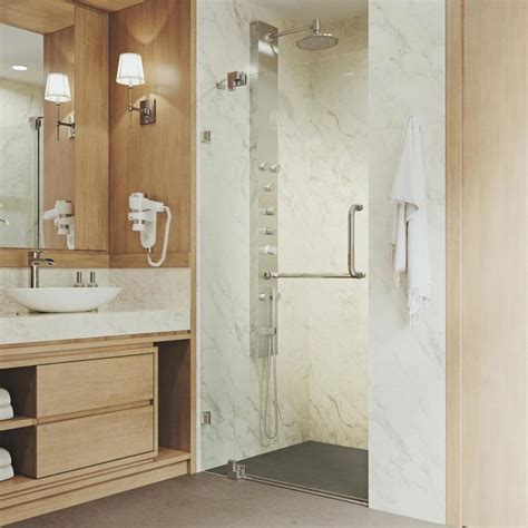 Shop Vigo 36 In To 42 In Frameless Pivot Shower Door At 36 Inch Glass Shower Door