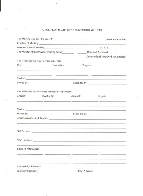 meeting minutes form sle resume for customer service