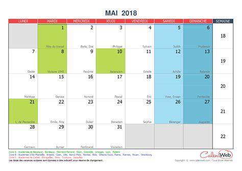 Calendrier 2018 Calenweb Calendrier Mensuel Mois De Mai 2018 Avec F 234 Tes Jours