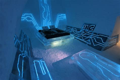 ice bedroom suite tron legacy inspires sci fi suite in swedish ice hotel