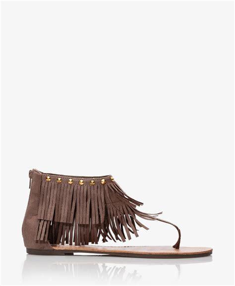 fringe sandals forever 21 faux suede fringe sandals in brown taupe