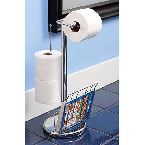 chrome metal toilet paper holder with magazine rack etna