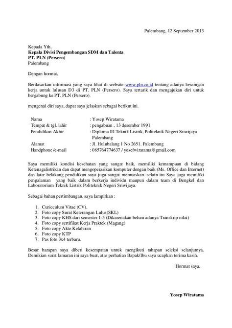 format surat lamaran kerja part time contoh surat lamaran kerja pln ben jobs contoh lamaran