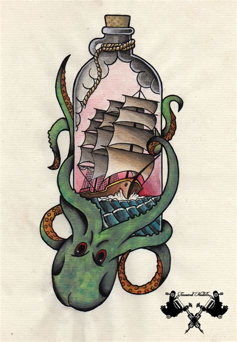 tattoo old school octopus tattoo flash octopus and ship by tausend nadeln on deviantart