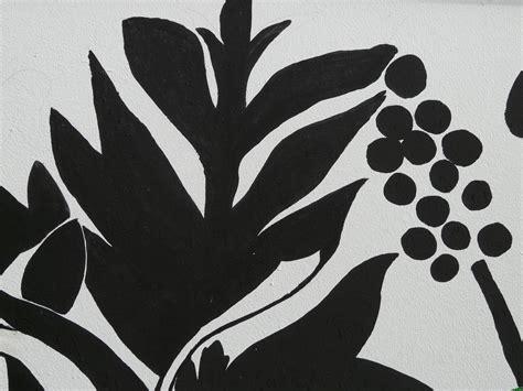 Wallpaper Dinding Hitam Putih Daun gambar abstrak hitam dan putih menanam daun bunga