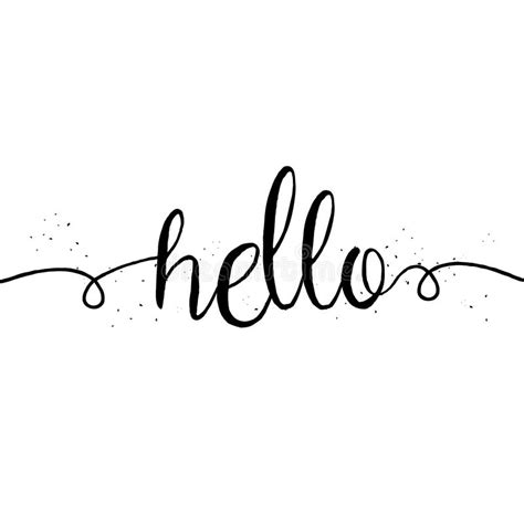 template of hello and modern hello saying greeting card stock vector illustration of handwriting
