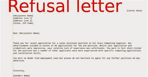 Business Writing Refusal Letter refusal letter sle sles business letters