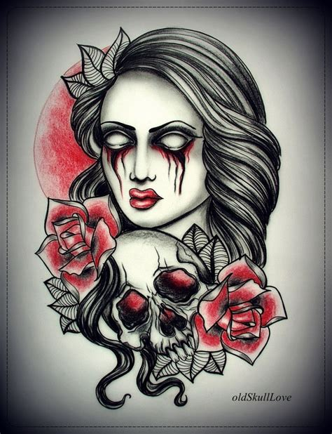 zombie girl tattoo designs with skull design by oldskulllovebymw on