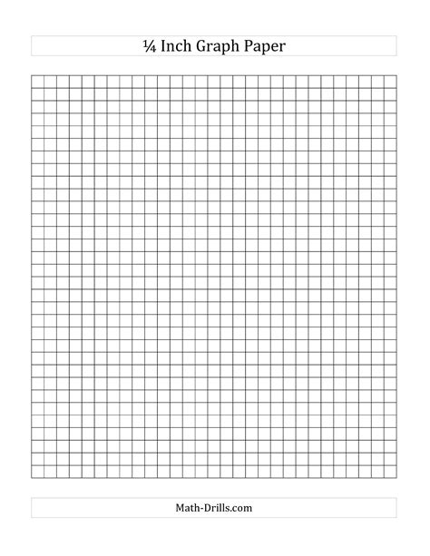 printable graph paper math drills graph paper one inch with quarter markings printable large