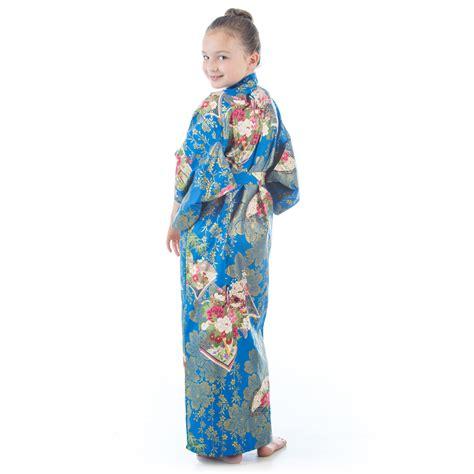 Cotton Japan Garis age 10 to 11 blue cotton japanese kimono