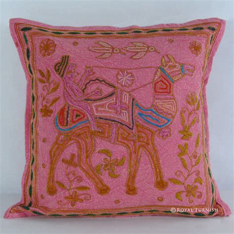 Animal Shaped Pillows by Pink Indian Camel Animal Shaped Embroidery Style Cotton