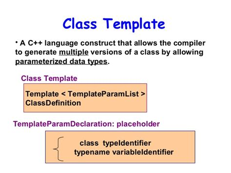 c class template what are the templates of the class in c programming