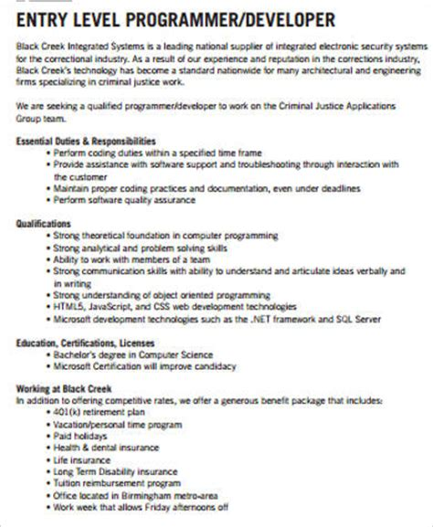 sle computer programmer job descriptions 11 exles