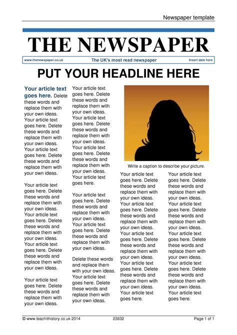 Newspaper Template Teaching Templates And Tools Newspaper Templates