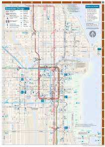 Chicago Metro Map by Chicago Downtown Metro System Map Mapsof Net