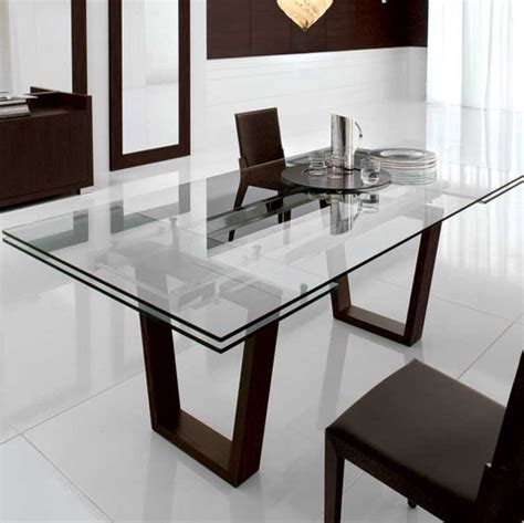 modern glass dining room tables kasala modern bold glass extension dining table
