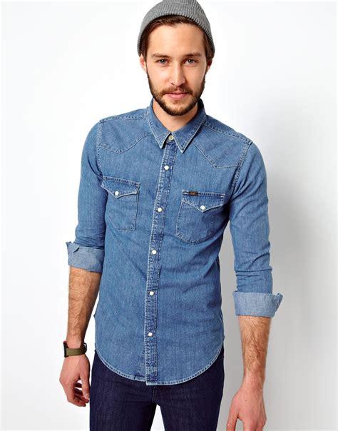 light denim shirt mens lyst asos denim shirt western slim fit light stone in