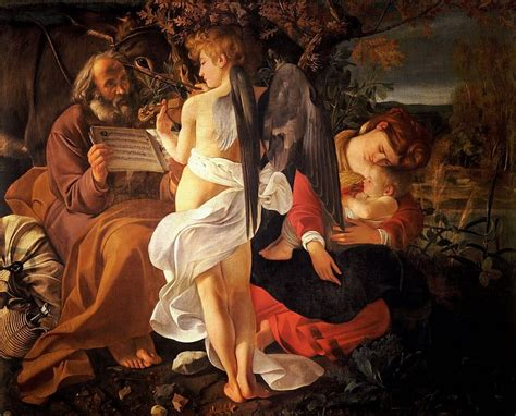 the on the the rest on the flight into 1597 by caravaggio