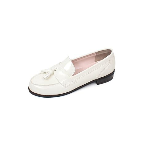white loafers shoes womens glossy tassel loafers