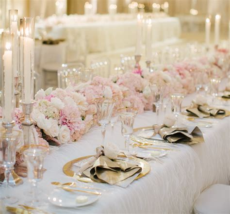 pink table settings wedding trends gold flatware at reception table settings