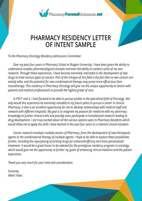 Letter Of Intent Sle Residency Fresh Essays Personal Statement Exles Pharmacy Residency