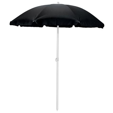 Picnic Time 5 5 Ft Beach Patio Umbrella In Black 822 00 Black Patio Umbrella
