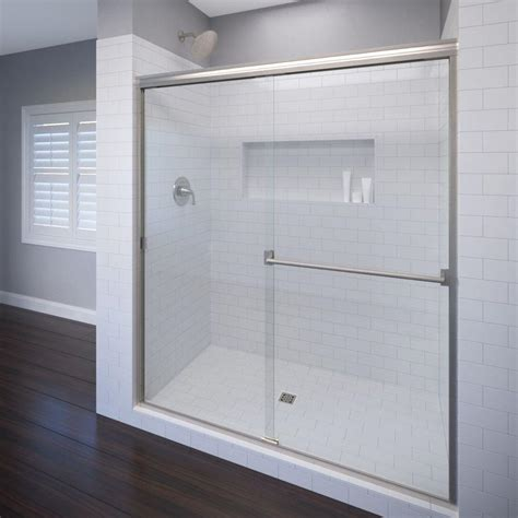Semi Framed Shower Doors Basco Classic 44 In X 70 In Semi Framed Sliding Shower Door In Rubbed Bronze 3500 44clor