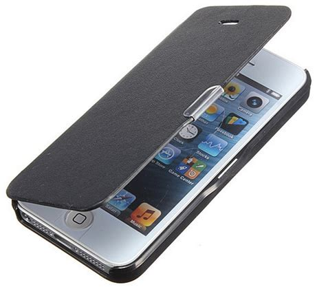 Kerropi Iphone 5 5s Custom Flip Cover apple iphone 5 5s synthetic leather flip cover with magnetic lock black at best prices