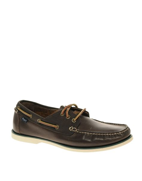 polo ralph bienne leather boat shoes in brown for