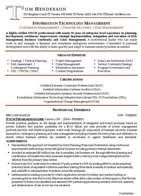 Exle Of Manager Resume by Risk Management Resume Exle Sle Management Resumes